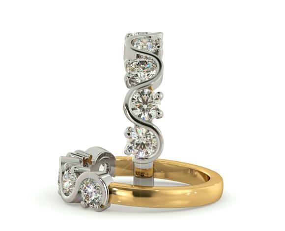 LEO Round cut 5 Stone Diamond Eternity Ring - HRRHE745 - 360 animation