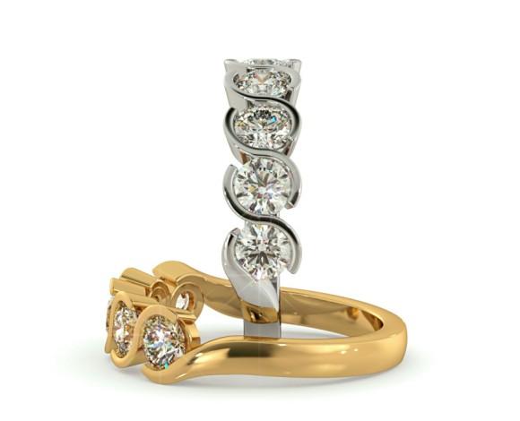 WHIRLPOOL Round cut Swirl 5 Stone Diamond Ring - HRRHE746 - 360 animation