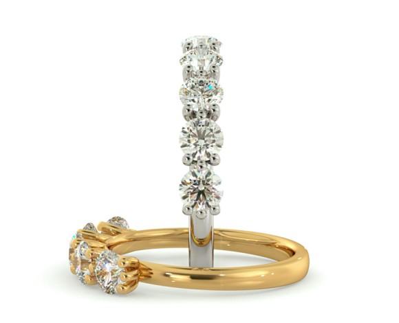 MUSCA Round cut 5 Stone Diamond Eternity Ring - HRRHE749 - 360 animation