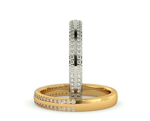 SARGAS Double row Round cut Half Eternity Ring - HRRHE755 - 360 animation