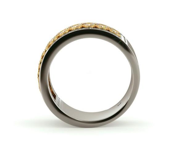 CAPELLA Round cut Half Circle Designer Ring - HRRHE761 - 360 animation