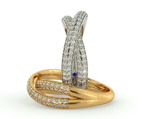 ORION Designer Crossover Round cut Diamond Eternity Ring - HRRHE768 - 360 animation