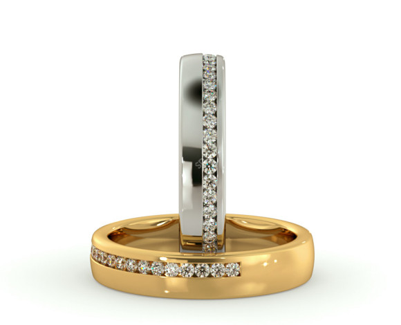 HYDRA 60% Offset Round cut Half Diamond Eternity Band - HRRHE774 - 360 animation