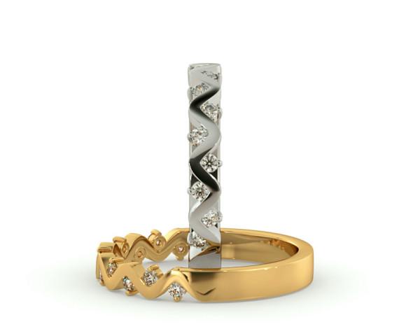 CRUX Round cut Diamond Wave Half Eternity Ring - HRRHE780 - 360 animation