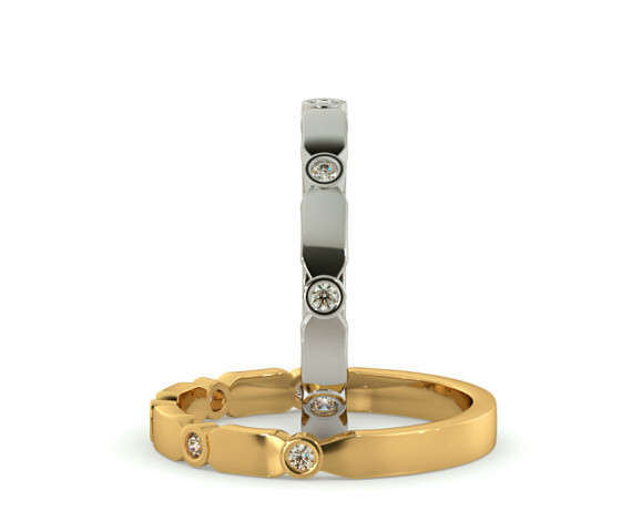 CARINA 5 Stone Round cut Diamond Designer Half Eternity Ring - HRRHE782 - 360 animation