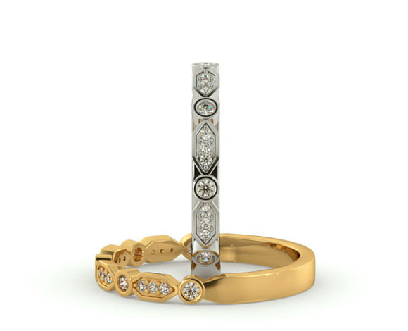 PUPPIS Round cut Diamond Designer Half Eternity Ring - HRRHE787 - 360 animation