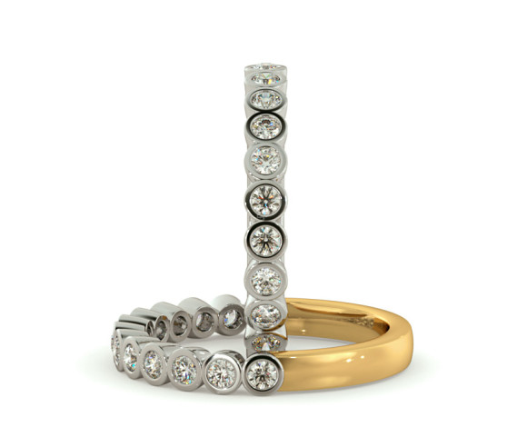 CURSA Bezel set Round cut Half Eternity Diamond Ring - HRRHE789 - 360 animation