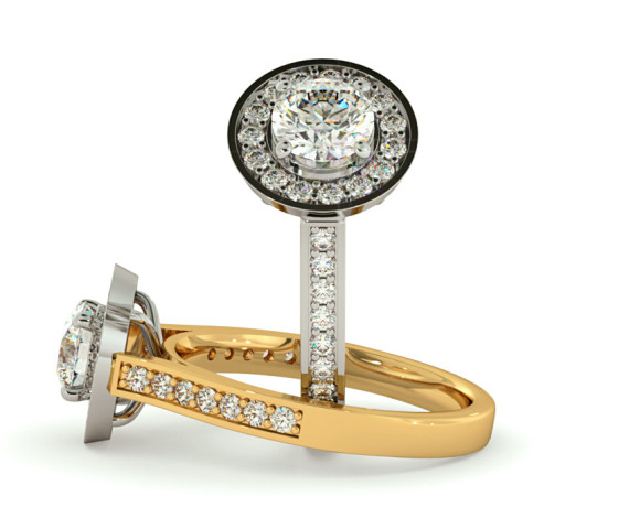 Round cut Halo Diamond Ring  - HRRSD250 - 360 animation