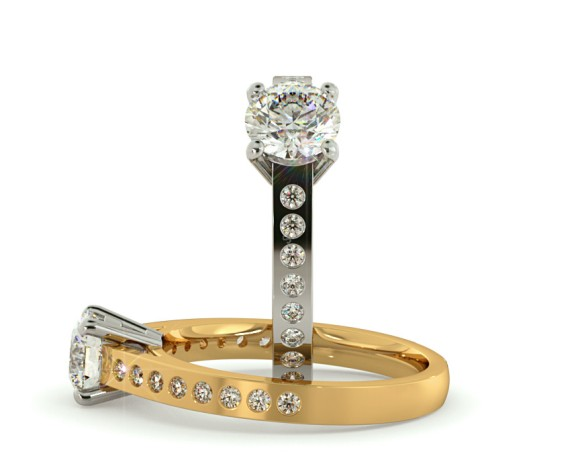 Round Shoulder Diamond Ring - HRRSD334 - 360 animation