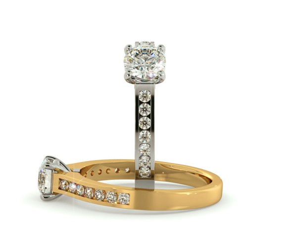 Round Shoulder Diamond Ring - HRRSD456 - 360 animation
