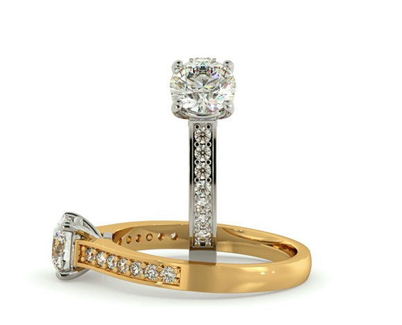 Round Shoulder Diamond Ring - HRRSD457 - 360 animation