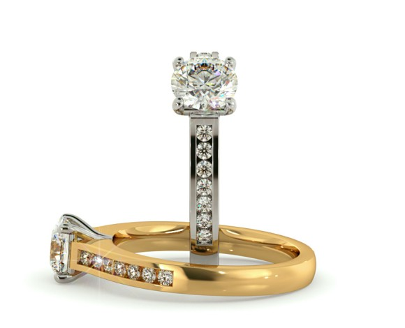V Prongs Round cut Diamond Ring with Accent Stones - HRRSD571 - 360 animation
