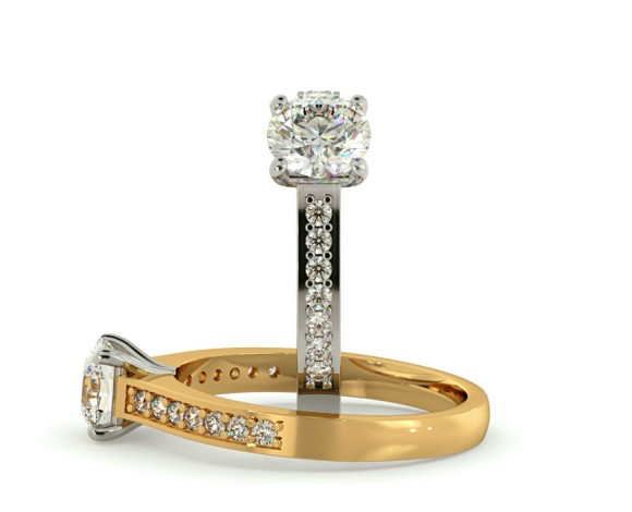 Round Shoulder Diamond Ring - HRRSD581 - 360 animation