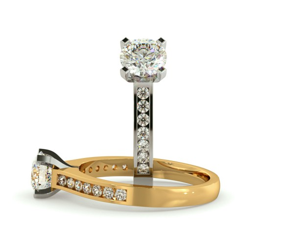 V Prongs Round cut Shoulder Diamond Ring - HRRSD599 - 360 animation