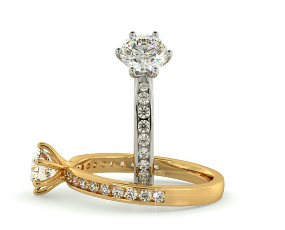 6 Claws Crossover Round cut Diamond Ring with Accent Stones - HRRSD621 - 360 animation