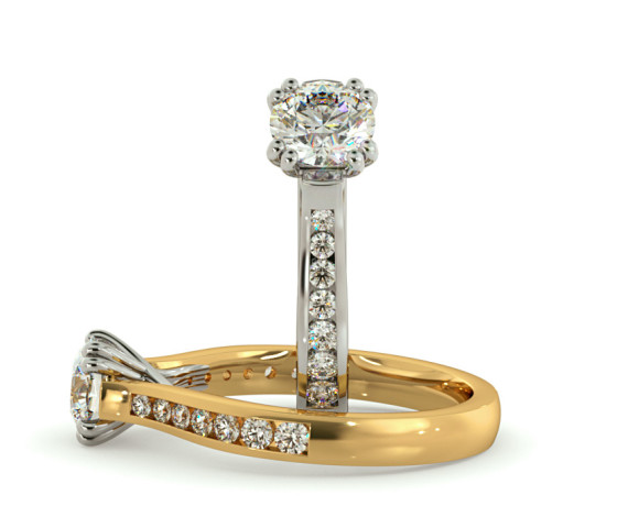 Crossover Round cut Diamond Ring with Accent Stones - HRRSD629 - 360 animation