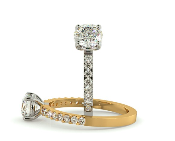 Round cut Diamond Ring with Claw Set Accent Stones - HRRSD644 - 360 animation