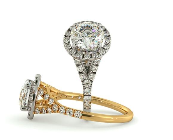Round cut Y Split Band Halo Diamond Ring - HRRSD682 - 360 animation