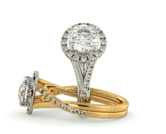 Studded Twisted Shank Round cut Halo Diamond Ring - HRRSD701 - 360 animation