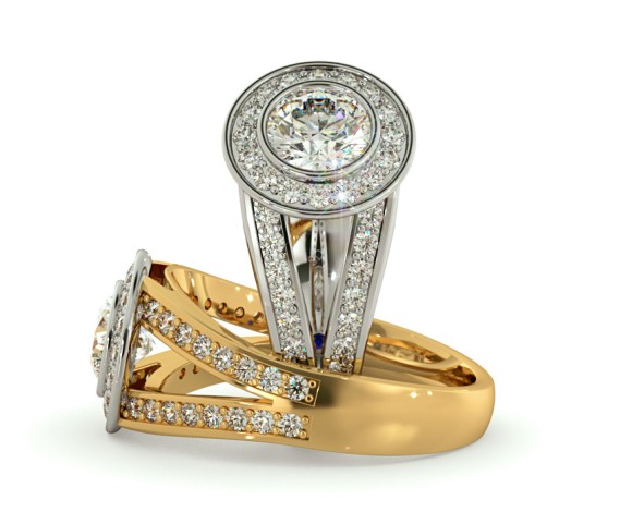 Split Shank Bezel set Round cut Halo Diamond Ring - HRRSD702 - 360 animation