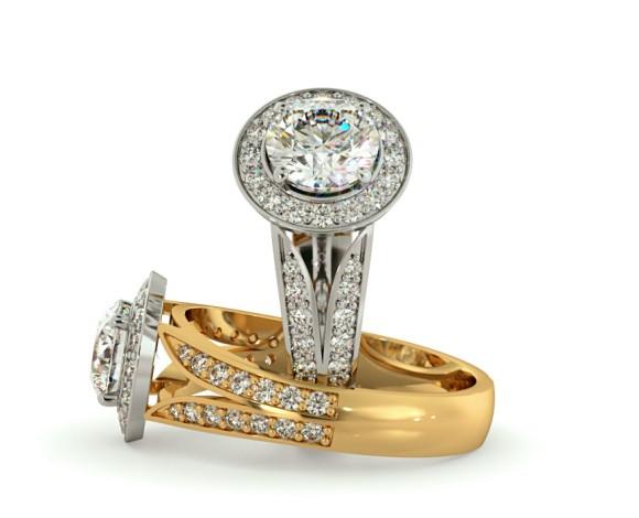Flowering Split Shank Round cut Halo Diamond Ring - HRRSD703 - 360 animation