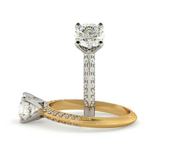 Round cut Knife Edge Studded Pave Shoulder Diamond Engagement Ring - HRRSD728 - 360 animation
