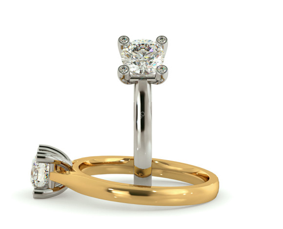 Round cut Studded Claw Diamond Engagement Ring - HRRSD737 - 360 animation