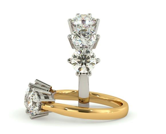 3 Round Diamonds Trilogy Ring - HRRTR101 - 360 animation