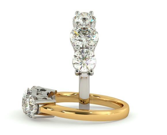 Round 3 Stone Diamond Ring - HRRTR104 - 360 animation