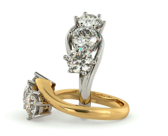 3 Round Diamonds Trilogy Ring - HRRTR106 - 360 animation