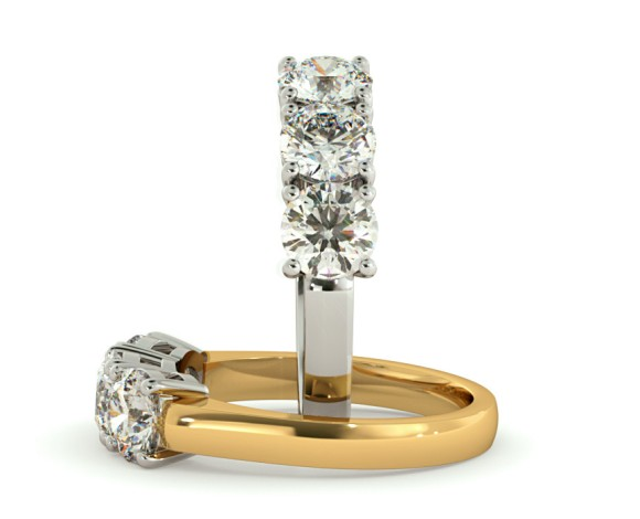 3 Round Diamonds Trilogy Ring - HRRTR110 - 360 animation