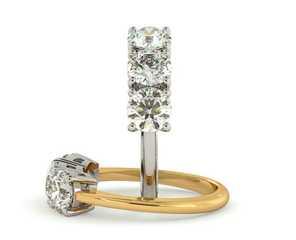 3 Round Diamonds Trilogy Ring - HRRTR111 - 360 animation