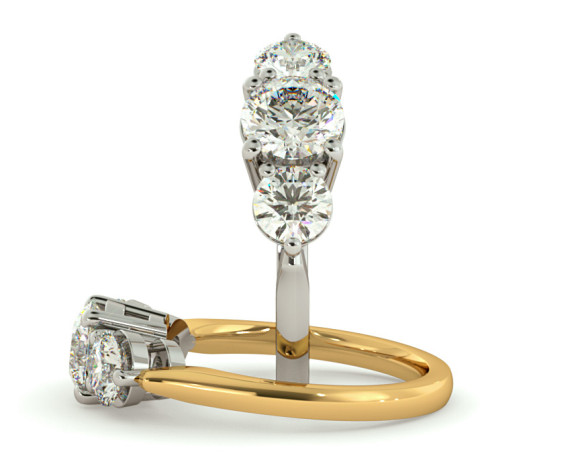 Round 3 Stone Diamond Ring - HRRTR112 - 360 animation