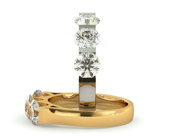3 Round Diamonds Trilogy Ring - HRRTR113 - 360 animation