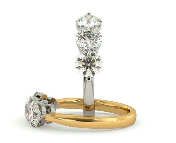 3 Round Diamonds Trilogy Ring - HRRTR114 - 360 animation