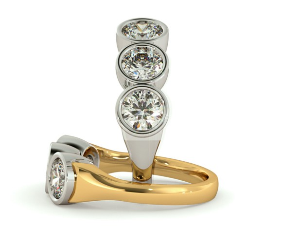 3 Round Diamonds Trilogy Ring - HRRTR115 - 360 animation
