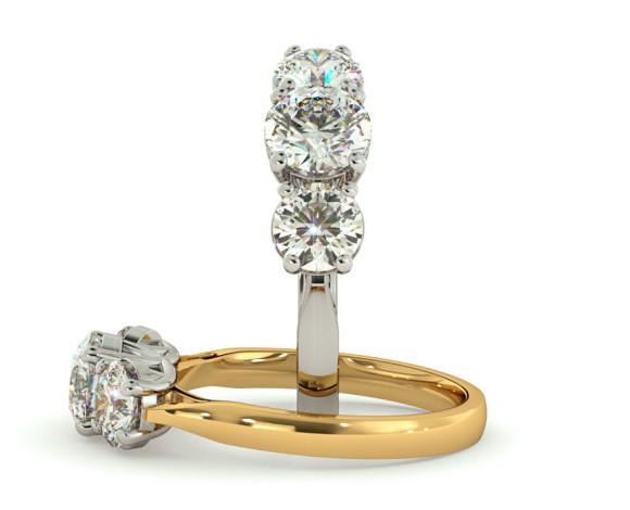Round 3 Stone Diamond Ring - HRRTR119 - 360 animation
