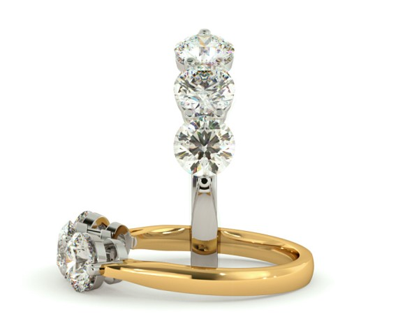3 Round Diamonds Trilogy Ring - HRRTR120 - 360 animation