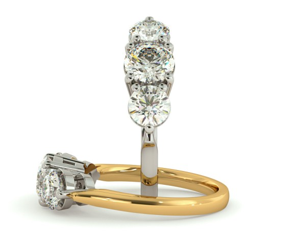 Round 3 Stone Diamond Ring - HRRTR121 - 360 animation