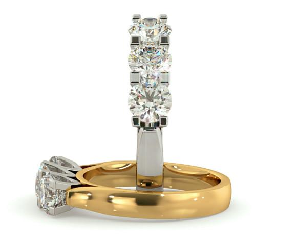 3 Round Diamonds Trilogy Ring - HRRTR122 - 360 animation