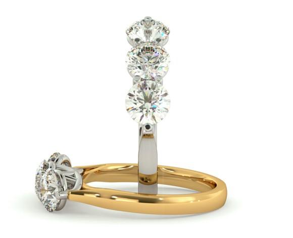 3 Round Diamonds Trilogy Ring - HRRTR126 - 360 animation