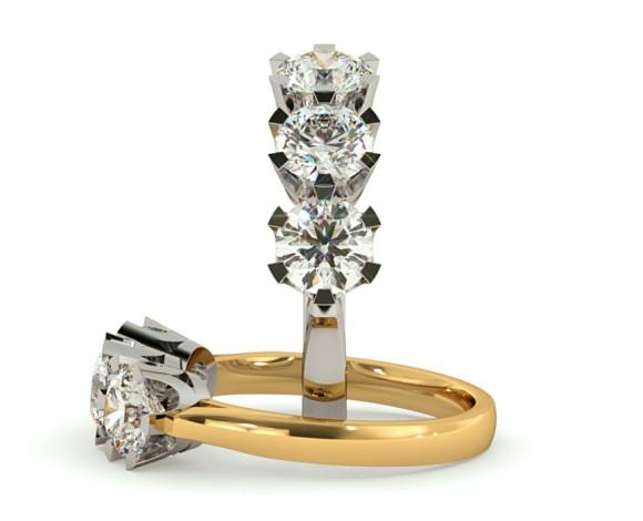 3 Round Diamonds Trilogy Ring - HRRTR127 - 360 animation