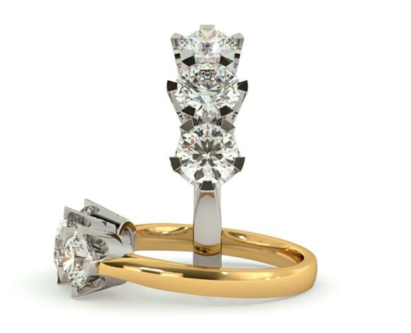 Round 3 Stone Diamond Ring - HRRTR128 - 360 animation