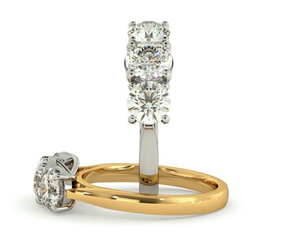 Round 3 Stone Diamond Ring - HRRTR134 - 360 animation