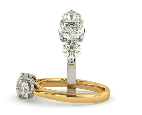Round 3 Stone Diamond Ring - HRRTR141 - 360 animation