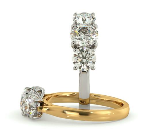 Round 3 Stone Diamond Ring - HRRTR149 - 360 animation