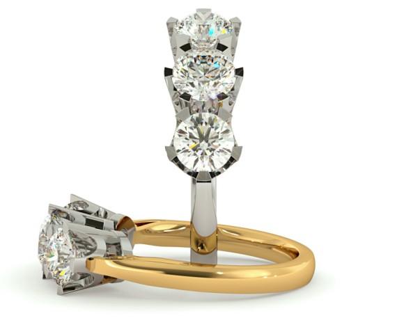 Round 3 Stone Diamond Ring - HRRTR158 - 360 animation