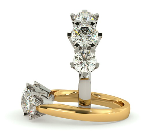 Round 3 Stone Diamond Ring - HRRTR159 - 360 animation