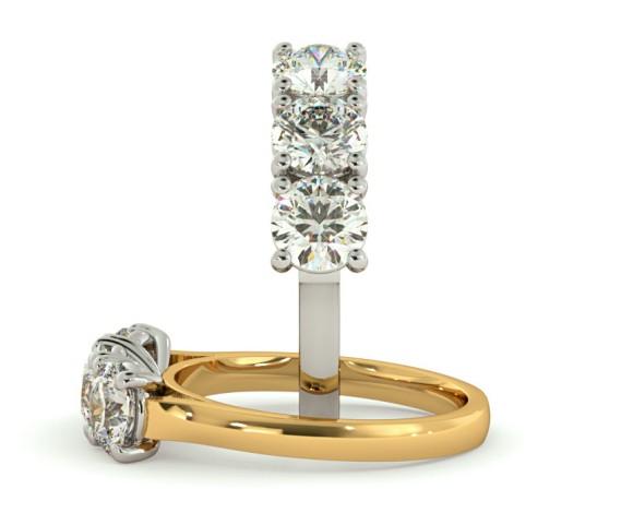 3 Round Diamonds Trilogy Ring - HRRTR160 - 360 animation