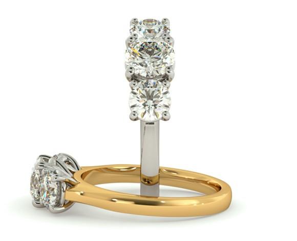 Round 3 Stone Diamond Ring - HRRTR162 - 360 animation
